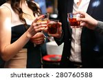 three friends drinking whiskey... | Shutterstock . vector #280760588