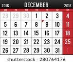 calendar for december  2016 | Shutterstock .eps vector #280764176