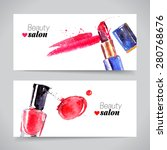 watercolor cosmetics banner set.... | Shutterstock .eps vector #280768676