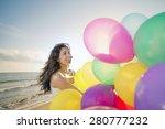 happy woman having fun on the... | Shutterstock . vector #280777232