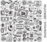 cinema doodles   set vector... | Shutterstock .eps vector #280813766