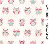 Seamless Cute Cartoon Owls...