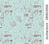 birthday seamless pattern. hand ... | Shutterstock .eps vector #280823006