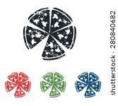 colored grunge icon set with...