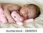 Peaceful Baby Asleep With Pink...