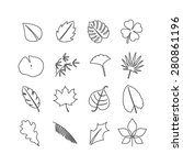 leaves collection  outline ... | Shutterstock .eps vector #280861196