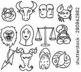vector set of zodiac icon | Shutterstock .eps vector #280862882