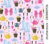 gardening seamless pattern....   Shutterstock .eps vector #280880936