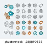 set of line gears  linear icons ... | Shutterstock .eps vector #280890536