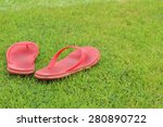 red slippers lay on the the... | Shutterstock . vector #280890722