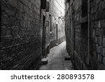 dark alley in old part of town | Shutterstock . vector #280893578