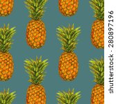 pineapple fruit pattern | Shutterstock .eps vector #280897196