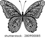 Stock vector abstract doodle vector outline decorative butterfly illustration 280900085