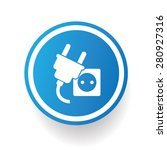 plug design icon on blue button ...