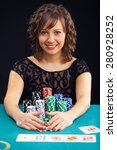 young woman holding gambling... | Shutterstock . vector #280928252