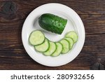 Plate With Sliced Cucumber On...