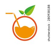 orange with straw logo. flat...   Shutterstock .eps vector #280938188