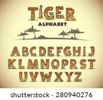 Tiger Alphabet  Vector Font...