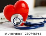 medical stethoscope and red toy ...   Shutterstock . vector #280946966
