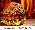 double patty hamburger on... | Shutterstock . vector #280954106