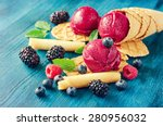 purple ice cream with waffles... | Shutterstock . vector #280956032