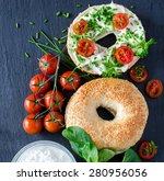 bagels sandwiches with cream... | Shutterstock . vector #280956056