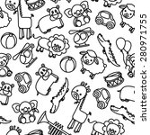 animals and toys baby pattern... | Shutterstock .eps vector #280971755