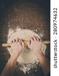 making dough by mens hands on... | Shutterstock . vector #280974632