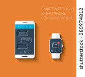 smartphone and smartwatch... | Shutterstock .eps vector #280974812