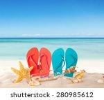 summer concept with sandy beach ... | Shutterstock . vector #280985612