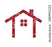 red grunge building logo on a...
