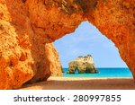 Arch Of A Cliff Rock On Alvor...