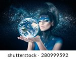 woman with moon inspired... | Shutterstock . vector #280999592
