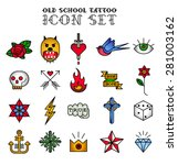 old school tattoo icon set | Shutterstock .eps vector #281003162