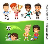 cartoon soccer players and... | Shutterstock .eps vector #281004242