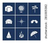 travel icons set. vector white...