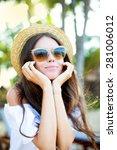 sensual summer fashion portrait ... | Shutterstock . vector #281006012