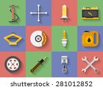 icon set of car repair parts ... | Shutterstock .eps vector #281012852