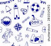 seamless nautical pattern. pen... | Shutterstock .eps vector #281014292