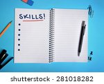 skills word on notebook page | Shutterstock . vector #281018282
