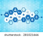 medical background and icons to ... | Shutterstock .eps vector #281021666