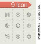 vector wheel icon set on grey... | Shutterstock .eps vector #281027132