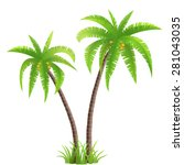 two coconut palm trees with... | Shutterstock .eps vector #281043035