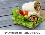 wrap sandwich with salami ... | Shutterstock . vector #281045732
