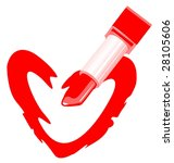 heart and lipstick isolated on... | Shutterstock . vector #28105606
