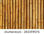 golden bamboo fence background. | Shutterstock . vector #281059076