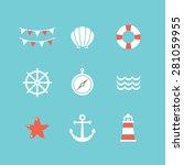 vector set of 9 flat sea... | Shutterstock .eps vector #281059955