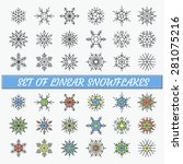 set of linear snowflakes  line... | Shutterstock .eps vector #281075216