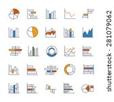 set of chart icons in thin... | Shutterstock . vector #281079062