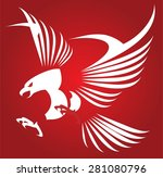 white eagle isolated on red... | Shutterstock .eps vector #281080796